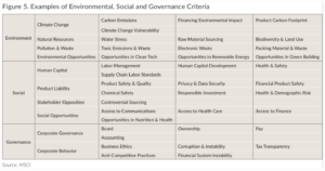 Examples of Environmental Social and Governance Criteria