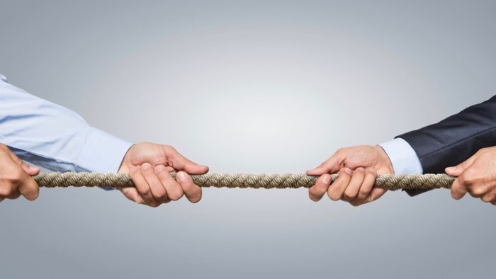Playing tug-of-war in a family business.
