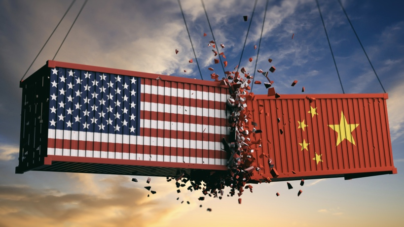 Chinese and American shipping containers colliding in air.